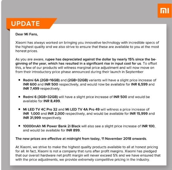 xiaomi increased prices