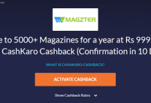 magzter cashkaro offer
