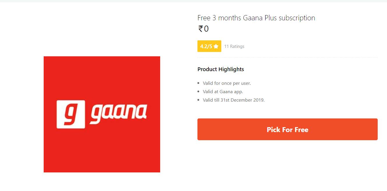 Gaana Plus Promo Code